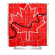Edmonton Street Map - Edmonton Canada Road Map Art On Canada Flag Symbols Shower Curtain