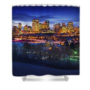 Edmonton Winter Skyline Shower Curtain