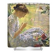 Edmund Charles Tarbell - Mercie Cutting Flowers 1912 Shower Curtain