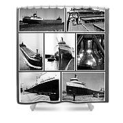 Edmund Fitzgerald Black And White Shower Curtain