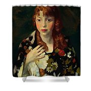 Edna Smith In A Japanese Wrap 1915 Shower Curtain