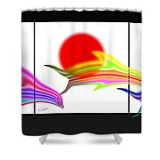 Edo Period Dolphin Screen Shower Curtain