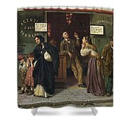 Eduardo Matania, Beim Pfandleiher 1870s Shower Curtain