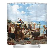 Eduardo Matania - Fishing Family In The Bay Of Naples 1872 Shower Curtain