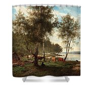 Edvard Bergh, Summer Landscape With Cattle And Birches. Shower Curtain