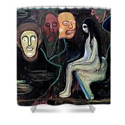 Edvard Munch - Girl And Three Mens Heads 1895-98 Shower Curtain