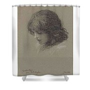 Edward Robert Hughes, R.w.s. 1851-1914 Head Study Of A Young Girl, Looking Downwards Shower Curtain