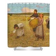 Edward Stott, A.r.a. 1859-1918 Harvesters Shower Curtain