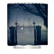 Eerie Mansion In Fog At Night Shower Curtain