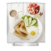Egg Salad Toast Fruit And Coffee Breakfast Set Shower Curtain