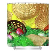 Eggs And A Bonnet For Easter Shower Curtain