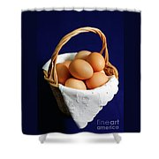 Eggs In A Wicker Basket. Shower Curtain