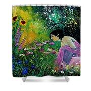 Eglantine With Flowers Shower Curtain