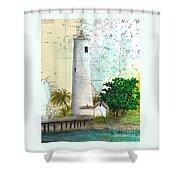 Egmont Key Lighthouse Fl Nautical Map Shower Curtain