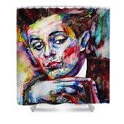 Egon Schiele - Watercolor Portrait.2 Shower Curtain