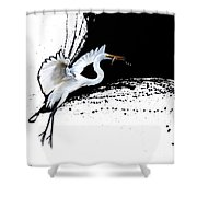 Egret 2 Shower Curtain by Sandi Baker