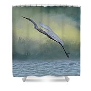 Egret Art I With Foreground Fog  Shower Curtain