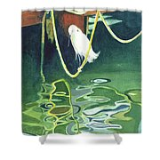 Egret On A Rope Shower Curtain