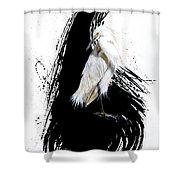 Egret Shower Curtain by Sandi Baker