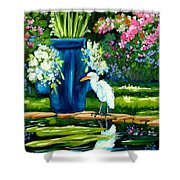 Egret Visits Goldfish Pond Shower Curtain