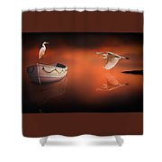 Egrets Boat Shower Curtain