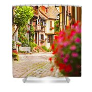 Half-timbered House, Eguisheim, Alsace, France  Shower Curtain