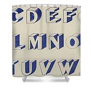 Egyptian For Carving Vintage Blue Font Design Shower Curtain