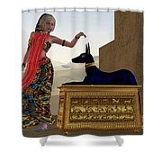 Egyptian Woman And Anubis Statue Shower Curtain