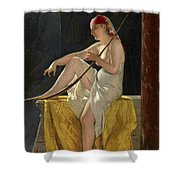 Egyptian Woman With Harp Shower Curtain