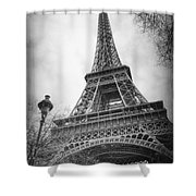 Eiffel Tower And Lamp Post Bw Shower Curtain