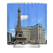 Eiffel Tower And Paris Casino And A Powder Blue Sky Shower Curtain