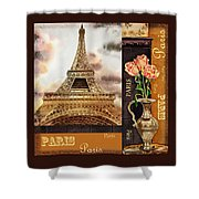 Eiffel Tower And Roses Shower Curtain