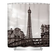 Eiffel Tower Black And White 3 Shower Curtain by Andrew Fare