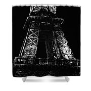 Eiffel Tower Illuminated At Night First And Second Decks Paris France Black And White Shower Curtain