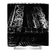 Eiffel Tower Illuminated At Night First Floor Deck Paris France Black And White Shower Curtain