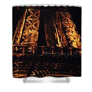 Eiffel Tower Illuminated At Night First Floor Deck Paris France Shower Curtain