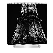 Eiffel Tower Illuminated Midsection At Night Paris France Black And White Shower Curtain