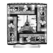 Eiffel Tower In Black And White Design I Shower Curtain