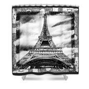 Eiffel Tower In Black And White Design II Shower Curtain