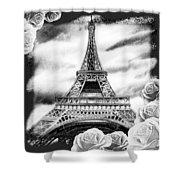 Eiffel Tower In Black And White Design IIi Shower Curtain