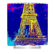 Eiffel Tower In Blue Shower Curtain