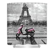 Eiffel Tower In The Rain With Pink Scooter Of Paris. Black And W Shower Curtain