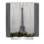 Eiffel Tower Over Trees And Statues Shower Curtain