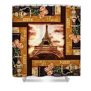 Eiffel Tower Roses Dance Shower Curtain