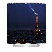 Eiffel Tower Spotlight Paris France Shower Curtain