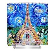 Eiffel Tower Starry Night Romance Shower Curtain