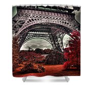 Eiffel Tower Surreal Photo Red Trees Paris France Shower Curtain