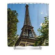 Eiffel Tower Through Trees Shower Curtain