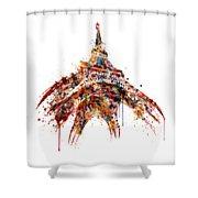 Eiffel Tower Watercolor Shower Curtain