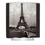 Eiffel Tower With Bridge In Sepia Shower Curtain